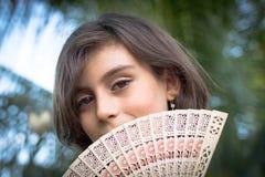 女孩相当害羞少许的纵向 免版税库存照片