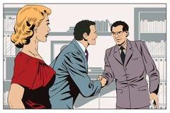 女孩看两握手的商人 背景明亮的例证桔子股票 库存照片