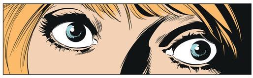 女孩眼睛 背景明亮的例证桔子股票 向量例证