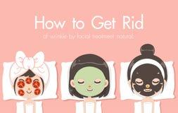 女孩睡觉面具自然 库存例证