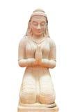 女孩祈祷的雕象 免版税图库摄影