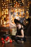 女孩神仙,笤帚的巫婆用南瓜 万圣节 库存图片