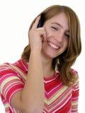 女孩移动电话使用 免版税库存图片
