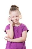 女孩移动电话联系的年轻人 免版税库存照片