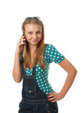 女孩移动电话联系的年轻人 库存图片