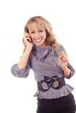 女孩移动电话联系 免版税图库摄影