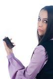女孩移动电话 免版税图库摄影