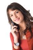 女孩移动电话 免版税库存图片