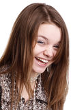 女孩笑的年轻人 图库摄影