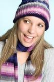 女孩笑的雪 免版税库存图片