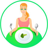 女孩素食主义者 免版税图库摄影