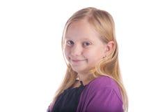 女孩紫色微笑 图库摄影