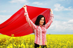 女孩红色围巾 免版税库存照片
