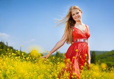 女孩红色年轻人 免版税库存图片