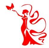 女孩红色 皇族释放例证