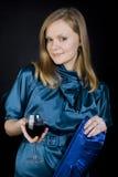女孩红葡萄酒 免版税库存照片
