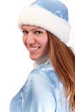 女孩纵向俏丽的圣诞老人 免版税库存照片