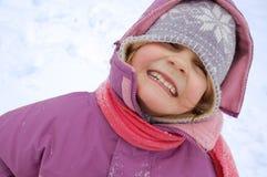 女孩纵向冬天 免版税库存图片