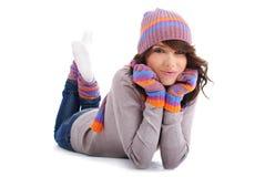 女孩纵向冬天 图库摄影