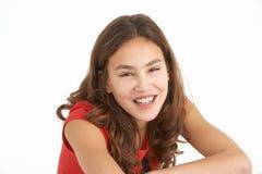 女孩纵向工作室年轻人 免版税库存图片