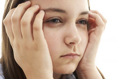 女孩纵向强调的年轻人 免版税库存图片