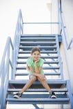 女孩纵向微笑的非离子活性剂 免版税库存照片