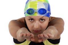 女孩纵向游泳者 免版税库存照片