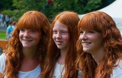 女孩纵向红发三 免版税库存图片