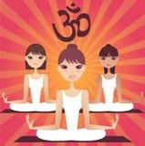 女孩组瑜伽 免版税库存照片
