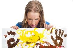女孩绘画年轻人 免版税库存照片