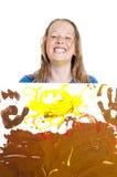 女孩绘画年轻人 库存照片