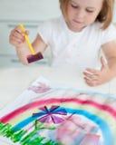 女孩绘画 免版税库存图片