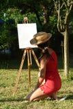 女孩绘画 库存图片