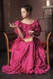 女孩维多利亚女王时代的年轻人 库存照片