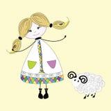 女孩绵羊 免版税图库摄影