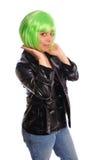 女孩绿色头发 库存图片