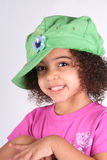 女孩绿色帽子 库存图片