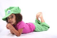 女孩绿色帽子 免版税库存照片