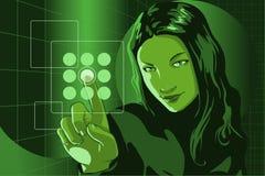 女孩绿色黑客 免版税库存图片
