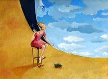 女孩缝合天空 免版税库存图片