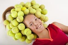 女孩网球 免版税库存照片
