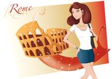 女孩罗马购物 免版税库存图片