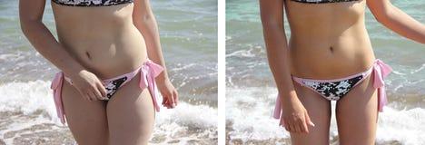 女孩美丽在游泳衣体重稀薄的成功以前在饮食肥胖病以后 库存照片