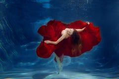 女孩美人鱼 水下的场面 妇女,在的一个时装模特儿 图库摄影