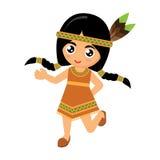女孩美洲印第安人舞蹈 库存图片