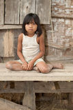 女孩老挝纵向贫穷 免版税库存照片