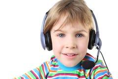 女孩耳机少许话筒 免版税库存照片