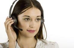 女孩耳机年轻人 免版税库存照片