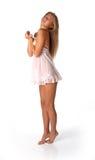 女孩肉欲女用贴身内衣裤的粉红色 免版税图库摄影