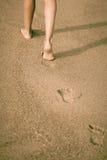 女孩腿,走在海滩 免版税库存照片